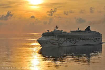 "Sunrise arrival, Bermuda.  The Norwegian cruise ship Dawn passes in the harbor channel by Saint George""s Island."