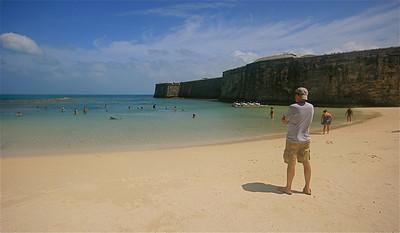 Het strand van Snorkel Park. Royal Naval Dockyard, Bermuda.