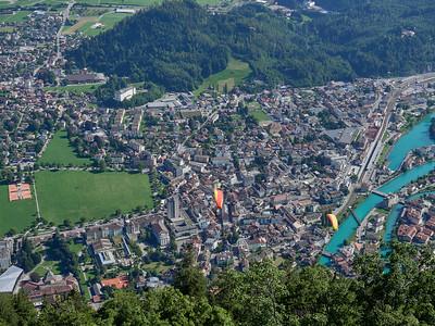 Paragliders above Interlaken
