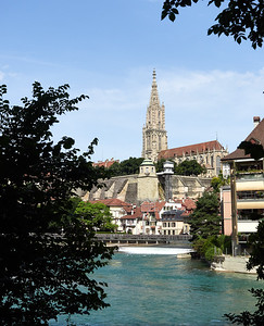 Bern cathederal from the river walk