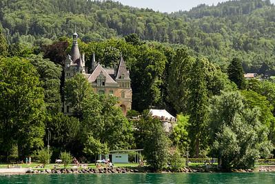 Swiss buildings on lake Thunersee