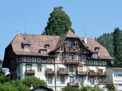 Ornate wooden balconies