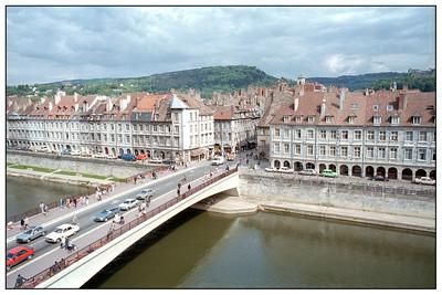 Le Pont Battant from Quai Veïl Picard, Besançon, Franche-Comté, France. Citadelle de Besancon distant right