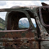 Mt. Crested Butte framed by an abandoned mining truck