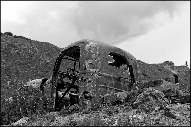 Old abandoned mining truck off of Washington Gulch forest road