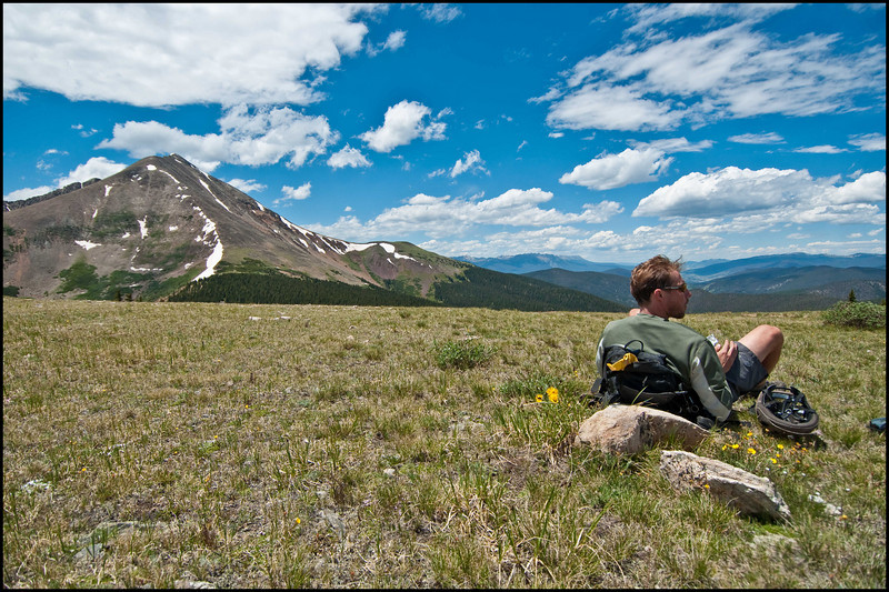 Dr. Dave enjoying the views at Georgia Pass.  Mt. Guyot (13er) looms in the background.