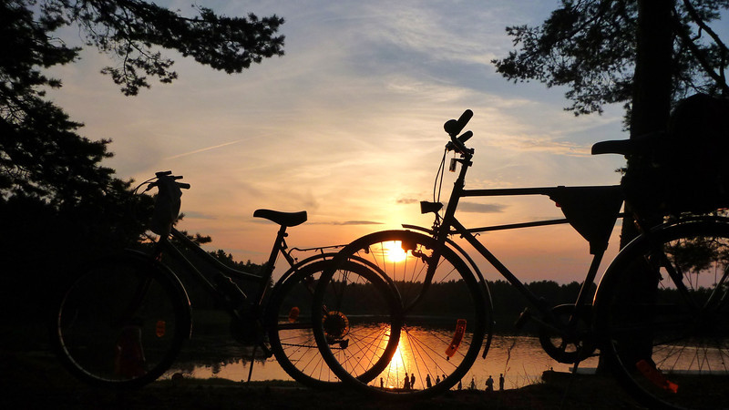Lake Verevi sunset with bycicles. Elva, Estonia August 2013