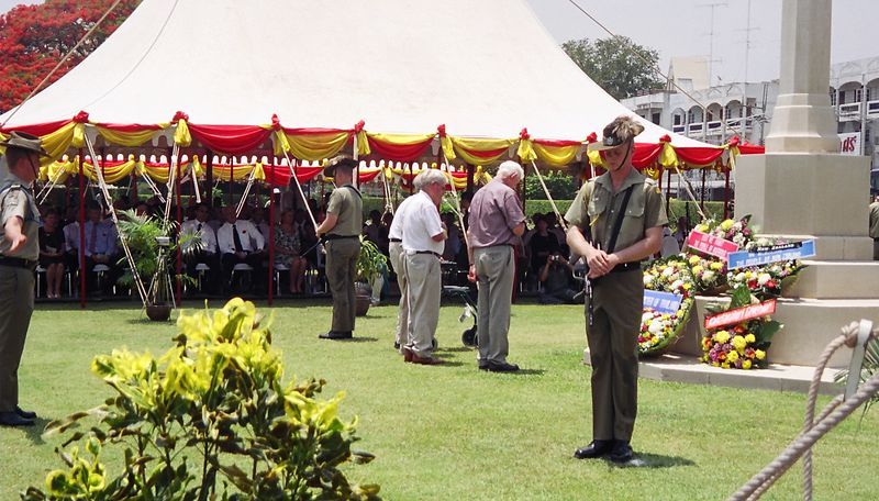 Surviving POWs placing a wreath at the war memorial, Kanchanaburi War Cemetary, on ANZAC day.  The most moving experience of my trip.