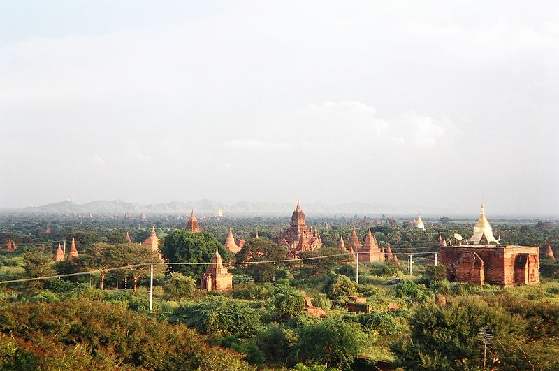 A view over some of the hundreds of temples and stupas of Bagan, Burma.