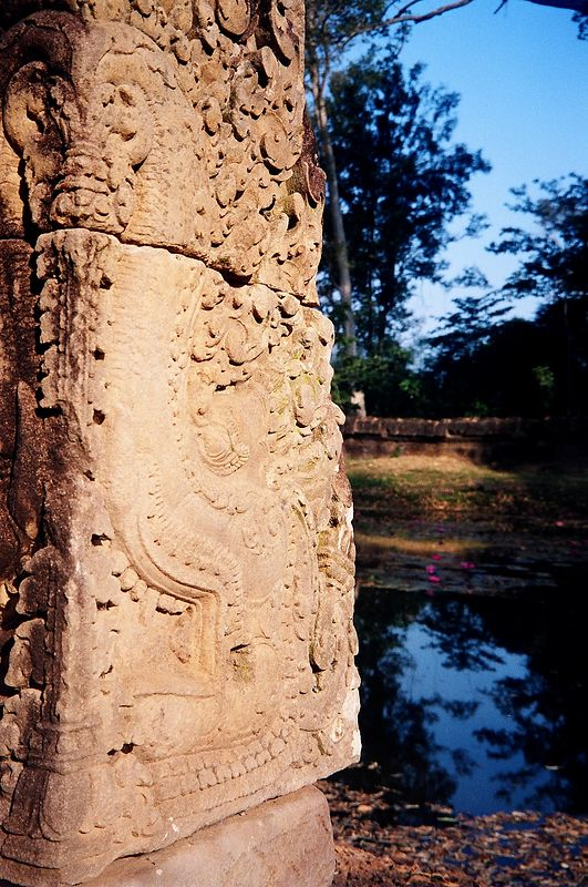 Carvings and pond, Bantay Srei temple, Ankgor.