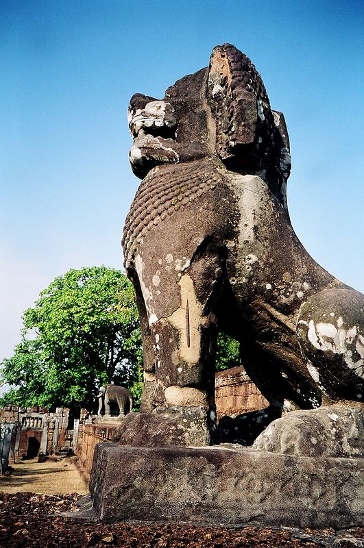 One of the carved lions at the Mebon temple, Angkor.
