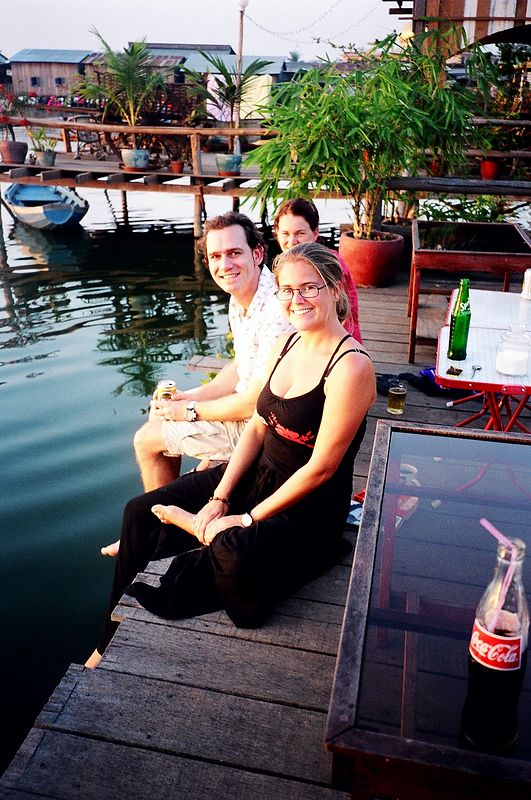 Me and chums sitting on the terrace (waiting for sunset) at the very chill Lakeside Guesthouse, Phnom Phen.