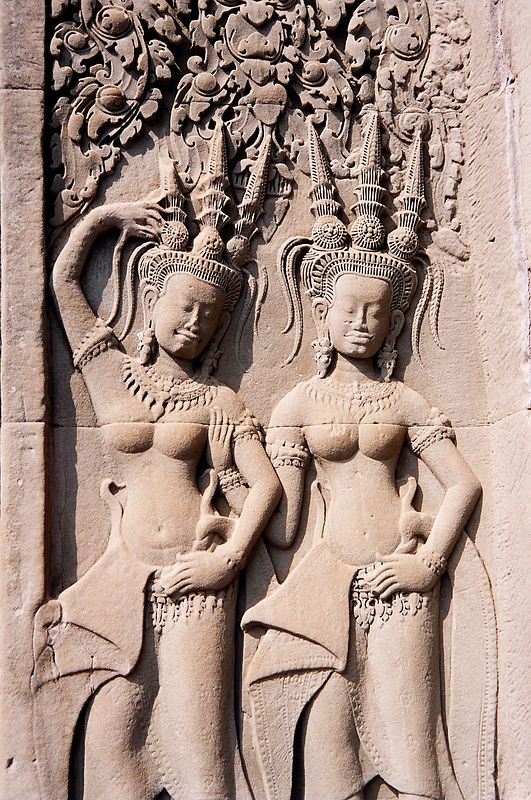 Carved relief on temple wall, Angkor Wat.