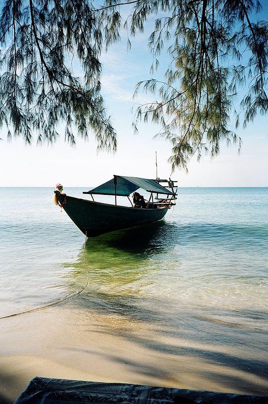 Boat on the beach, Serendipity beach, Sianoukville, Cambodia.