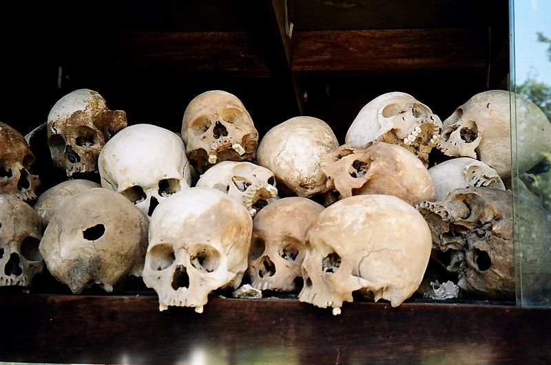 Skulls from the killing fields, Phnom Phen.  These were inside a tower containing hundreds of skulls, grouped by sex and age (including childrens skulls).