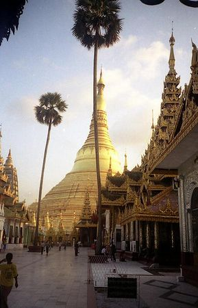Schwedagon Pagoda, surounded by many smaller, intricate pagodas.
