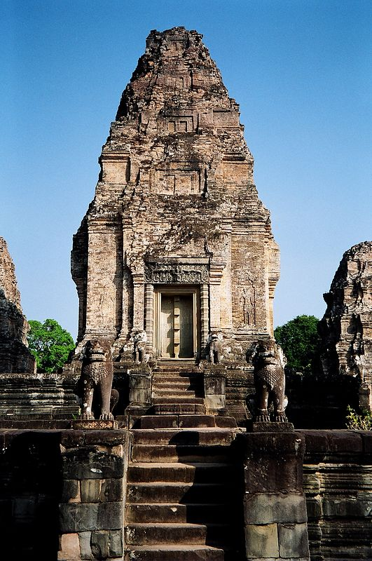 Mebon temple with carved lions. Angkor.