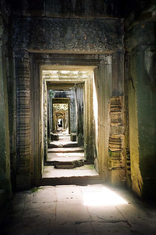 Hallway inside temple, Angkor