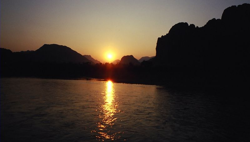 The sunset from the 'Chillout' island in Vang Vieng