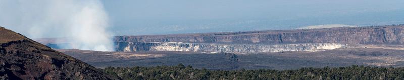 Panorama of Kilauea caldera, with Kilauea Iki at the left