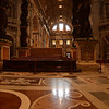Inside the St Peters Basilica. The brown floor stone is the most expensive stone in the world - there is no more to be found. The Vatican has all or most of it!