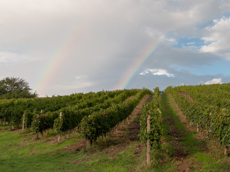 Double rainbow outside Greve in Chianti, Italy
