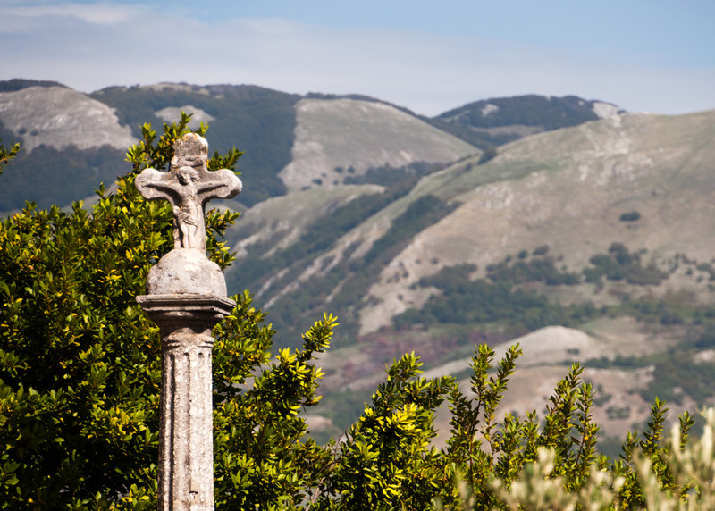 Park near the church overlooking the valley in Oliveto Citra, Italy
