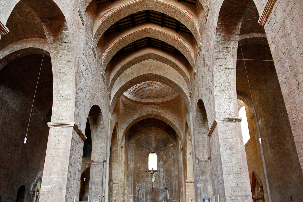 Internal structure of the Assisi basilica  ( What a contrast, medieval building with compact fluorescent globes!)