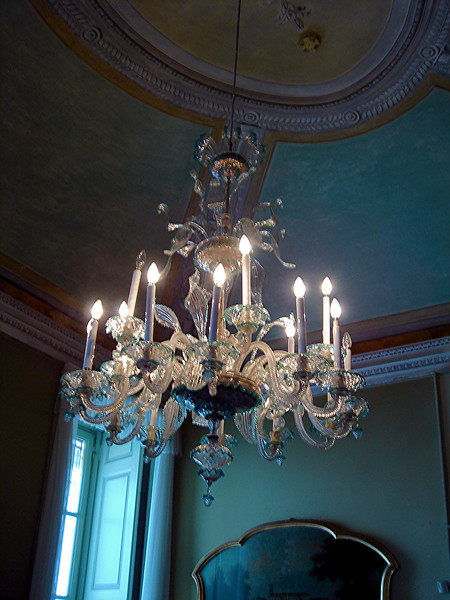Venician chandelier at estate in Isola Bella
