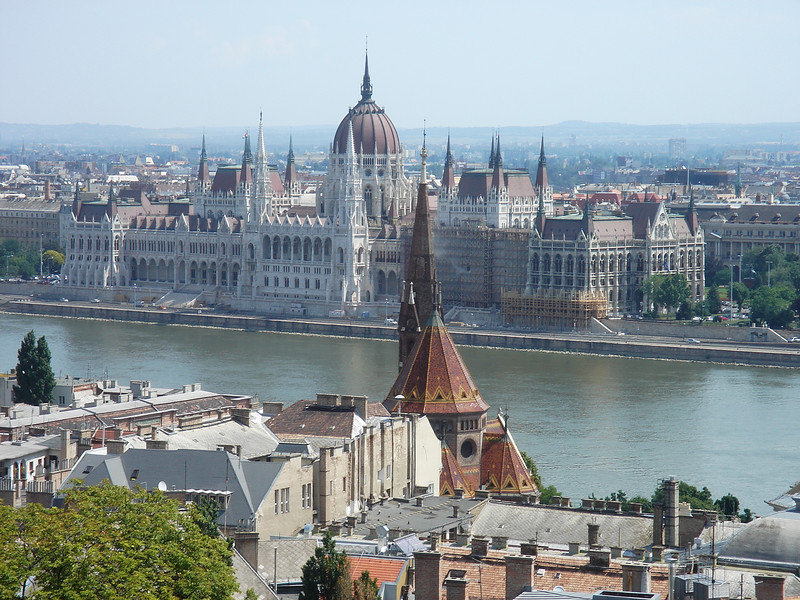 Hungarian Parliament building across the Danube from the Castle