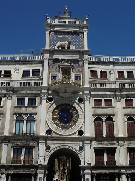 "Clock tower in San Marco witha ""glockenspiel"" top <br /> Interesting face detail"