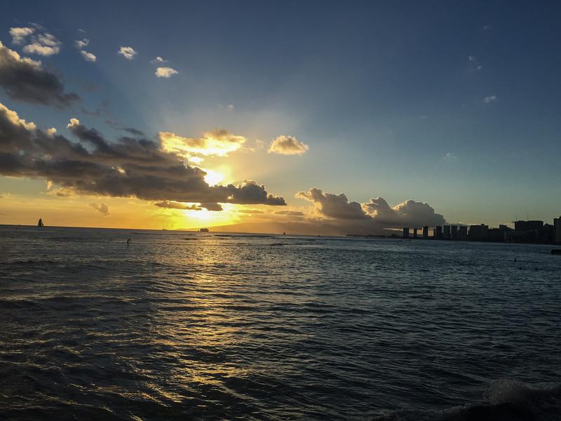 Mark and Bei wedding reception sunset, Michel's at the Colony Surf, Waikiki, Honolulu, HI.