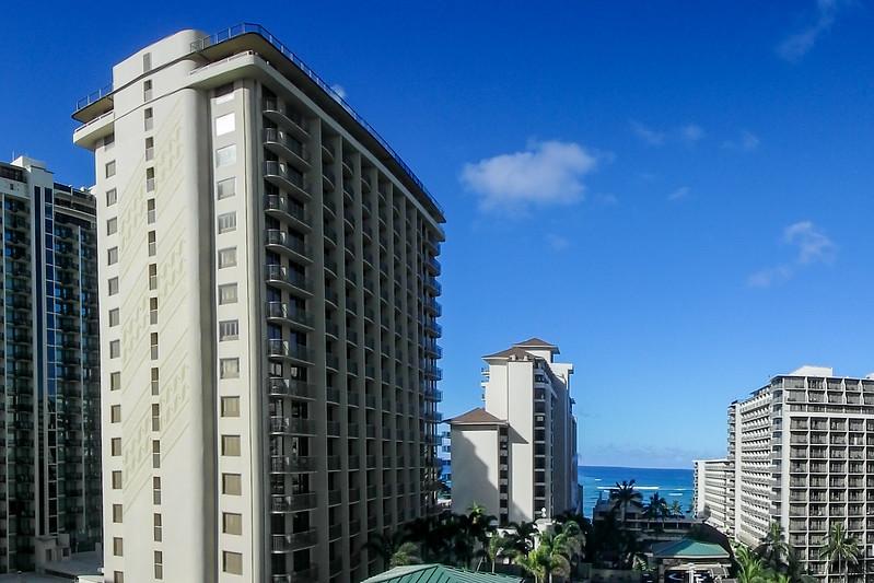View from the Embassy Suites Hotel, Waikiki, Honolulu, HI.