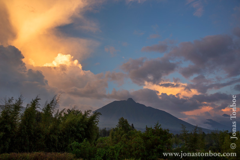 Mount Sabyinyo and Sunset Clouds