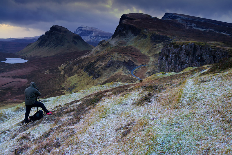 Ian Cameron framing a shot of the Quiraing, Isle of Skye Feb 2012