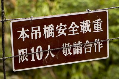 This sign says that we are only supposed to have 10 people on the bridge.  We had a wee bit more than that.