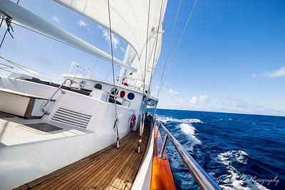 Under sail, underway - Arabella in the Caribbean