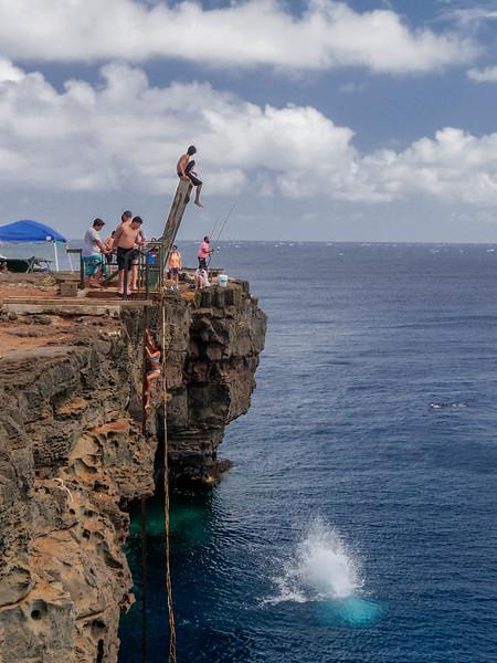 Hawaii South Point (Ka Lae) Cliff jump.