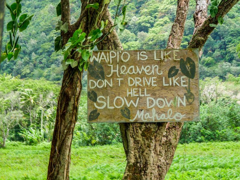 "Waipi'o is like heaven, don't drive like hell."" Waiopio Valley,   Honokaa, HI"
