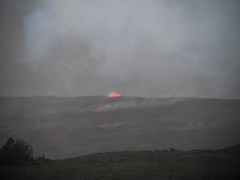 Lava lake glowing, Halema'uma'u Crater viewed from the Jaggar Museum, Volcano National Park.