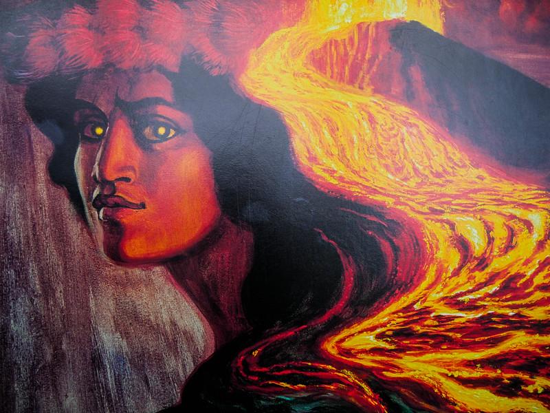 Pele, goddess of fire, lightning, dance, wind, volcanoes and violence.  Jaggar Museum exhibit, Volcano National Park.