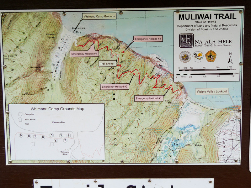 Muliwai trail connects Waipi'o Valley to Waimanu Valley, Honokaa, HI