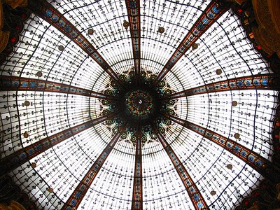 The stained glass dome in the Gallerie de Lafayette in Paris