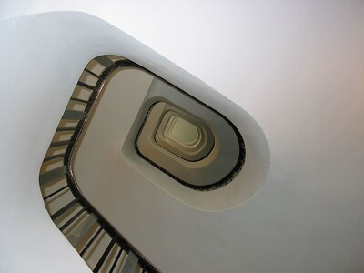 Looking up our hotel stairway in Paris