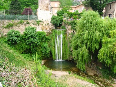 Waterfall outside a monastery in France