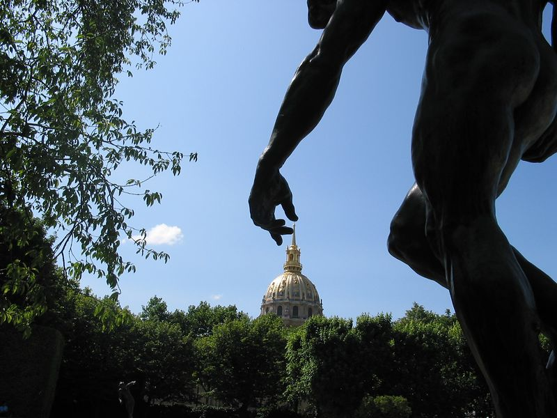 "Napoleon's dome being ""touched"" by the statue Shade in the Rodin garden in Paris...over 40 copies sold"