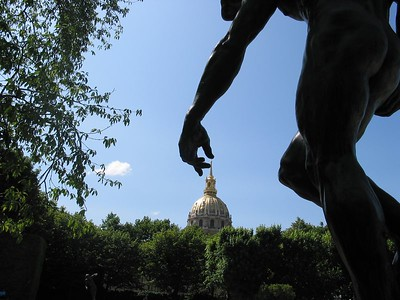 """Napoleon's dome being """"touched"""" by the statue Shade in the Rodin garden in Paris...over 40 copies sold"""