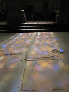 Stained glass projection onto an old floor in an old church - around two dozen copies sold