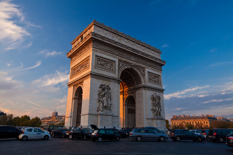 The Arc de Triumphe during the Golden Hour