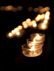 Candles lit for prayer.
